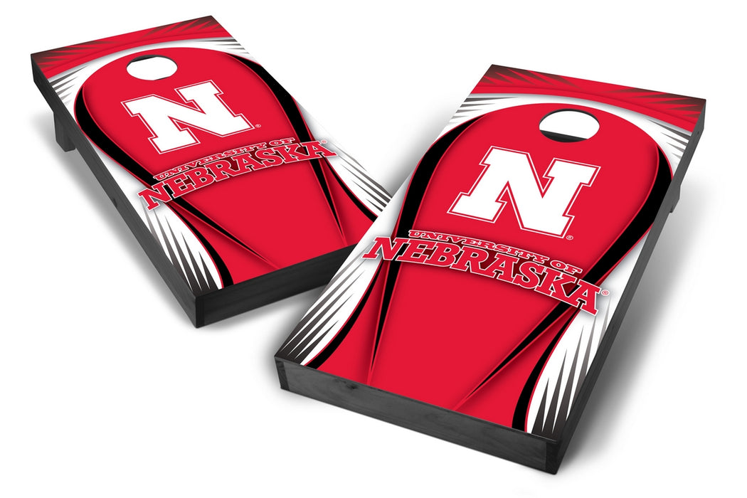 Nebraska Cornhuskers 2x4 Cornhole Board Set Onyx Stained - Drop