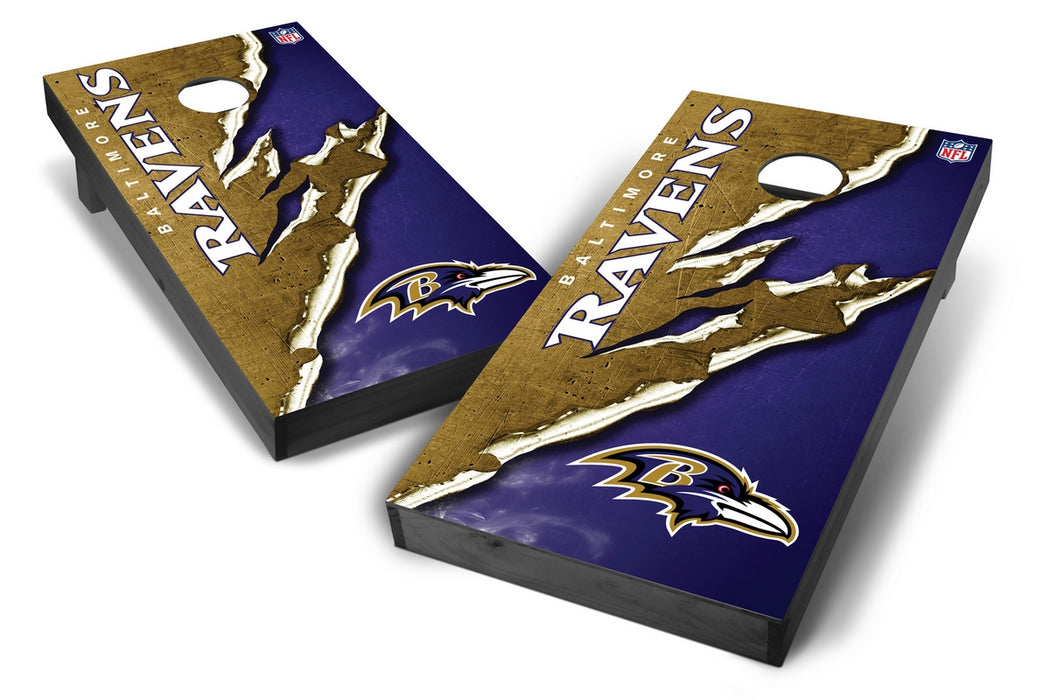 Baltimore Ravens 2x4 Cornhole Board Set Onyx Stained - Ripped