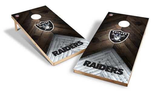 Oakland Raiders 2x4 Cornhole Board Set - Weathered