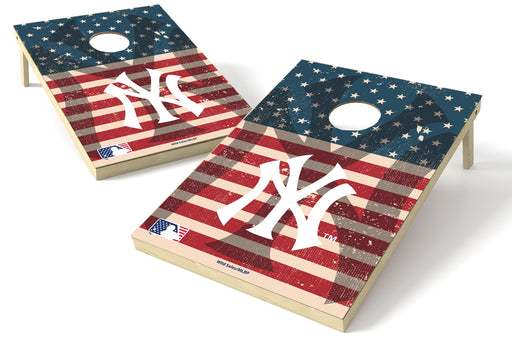 New York Yankees 2x3 Cornhole Board Set - American Flag Weathered