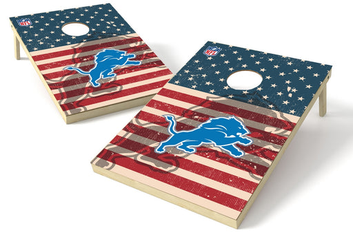 Detroit Lions 2x3 Cornhole Board Set - American Flag Weathered
