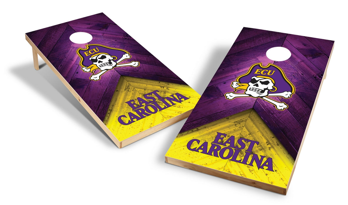 East Carolina Pirates 2x4 Cornhole Board Set - Weathered
