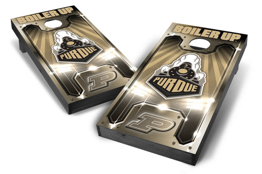 Purdue Boilermakers 2x4 Cornhole Board Set Onyx Stained - Plate