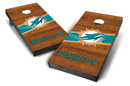 Miami Dolphins 2x4 Cornhole Board Set Onyx Stained - Logo