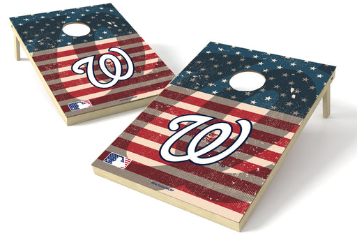 Washington Nationals 2x3 Cornhole Board Set - American Flag Weathered