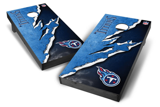 Tennessee Titans 2x4 Cornhole Board Set Onyx Stained - Ripped