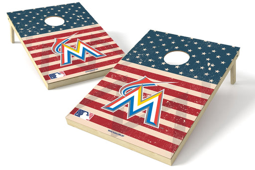 Miami Marlins 2x3 Cornhole Board Set - American Flag Weathered