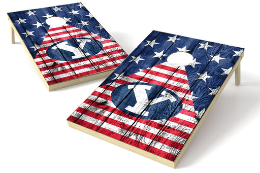 Brigham Young Cougars 2x3 Cornhole Board Set - American Flag