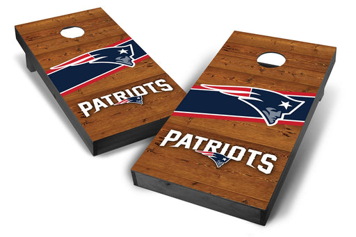 New England Patriots 2x4 Cornhole Board Set Onyx Stained - Logo