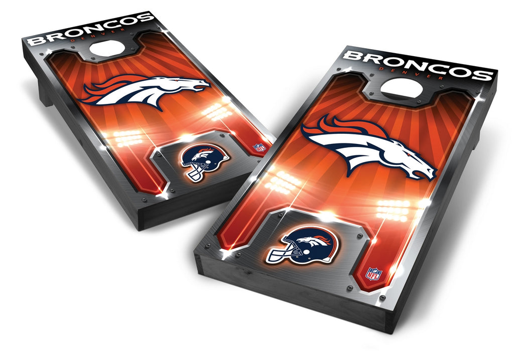 Denver Broncos 2x4 Cornhole Board Set Onyx Stained - Plate
