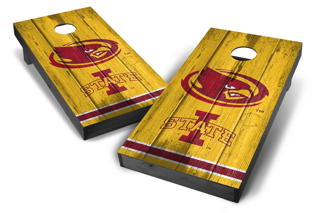 Iowa State Cyclones 2x4 Cornhole Board Set Onyx Stained - Vintage