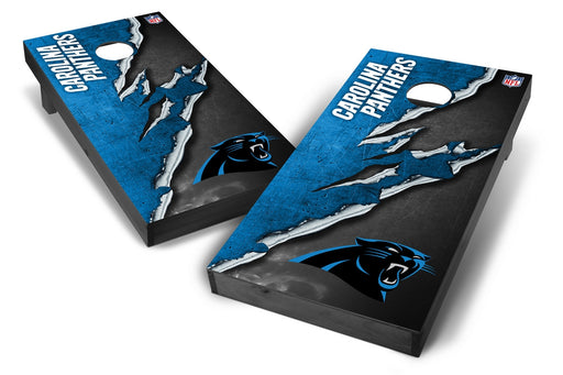 Carolina Panthers 2x4 Cornhole Board Set Onyx Stained - Ripped