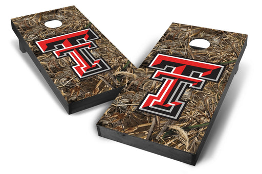 Texas Tech Red Raiders 2x4 Cornhole Board Set Onyx Stained - Realtree Max-5 Camo