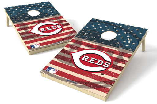Cincinnati Reds 2x3 Cornhole Board Set - American Flag Weathered