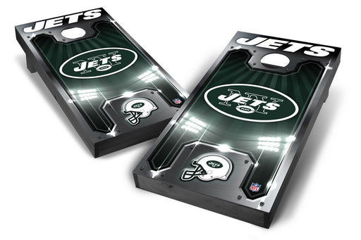 New York Jets 2x4 Cornhole Board Set Onyx Stained - Plate
