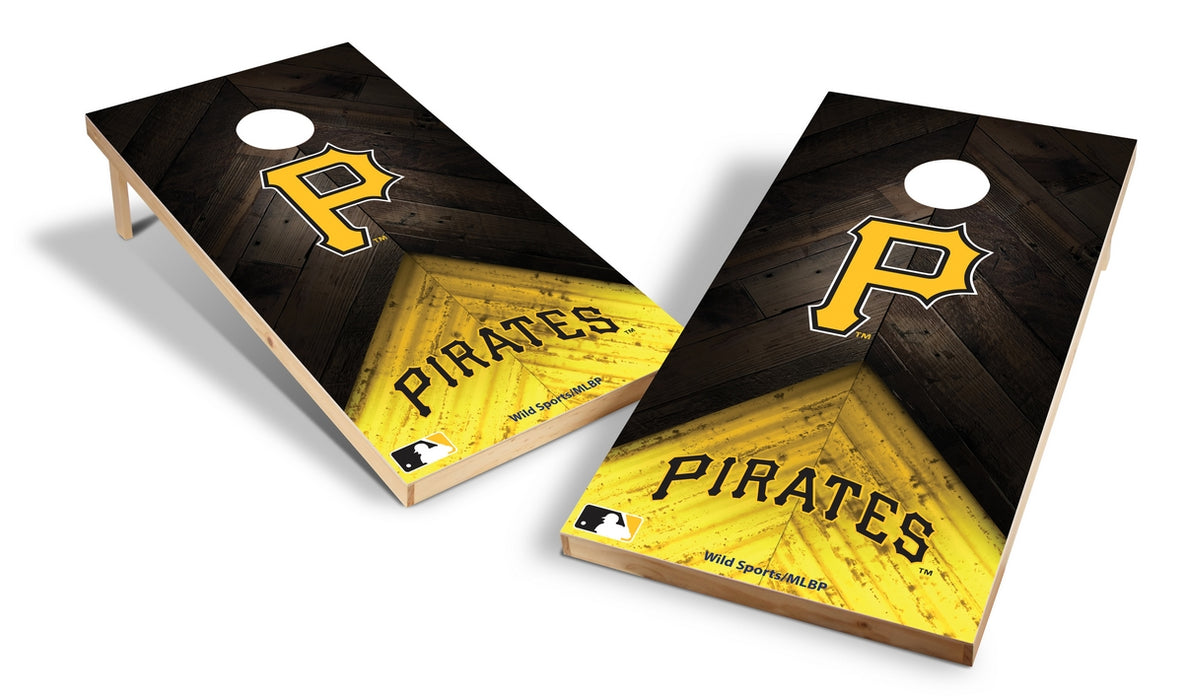 Pittsburgh Pirates 2x4 Cornhole Board Set - Weathered