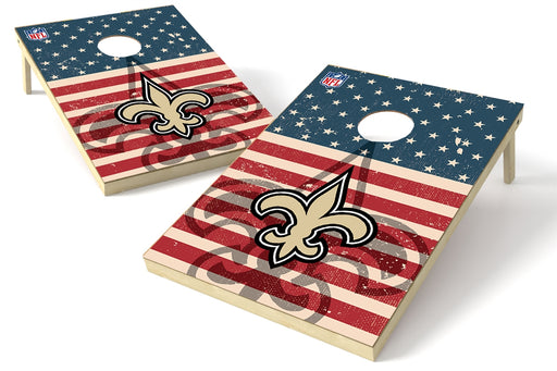 New Orleans Saints 2x3 Cornhole Board Set - American Flag Weathered