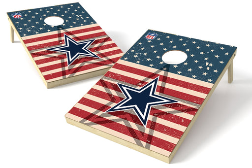 Dallas Cowboys 2x3 Cornhole Board Set - American Flag Weathered