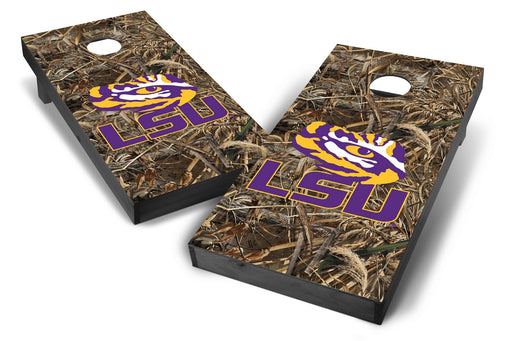 LSU Tigers 2x4 Cornhole Board Set Onyx Stained - Realtree Max-5 Camo