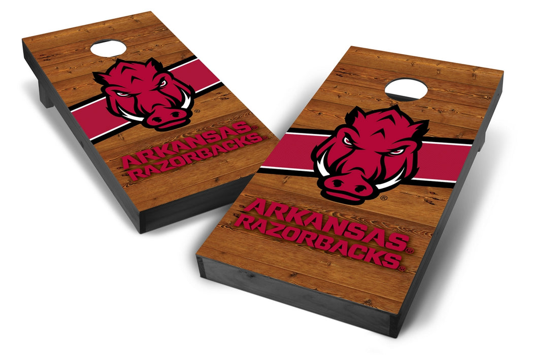 Arkansas Razorbacks 2x4 Cornhole Board Set Onyx Stained - Logo