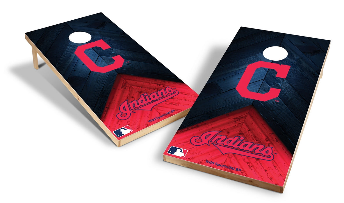 Cleveland Indians 2x4 Cornhole Board Set - Weathered