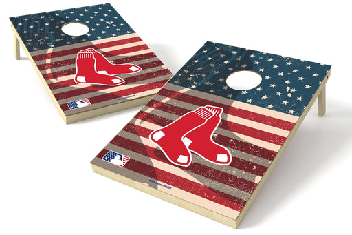 Boston Red Sox 2x3 Cornhole Board Set - American Flag Weathered