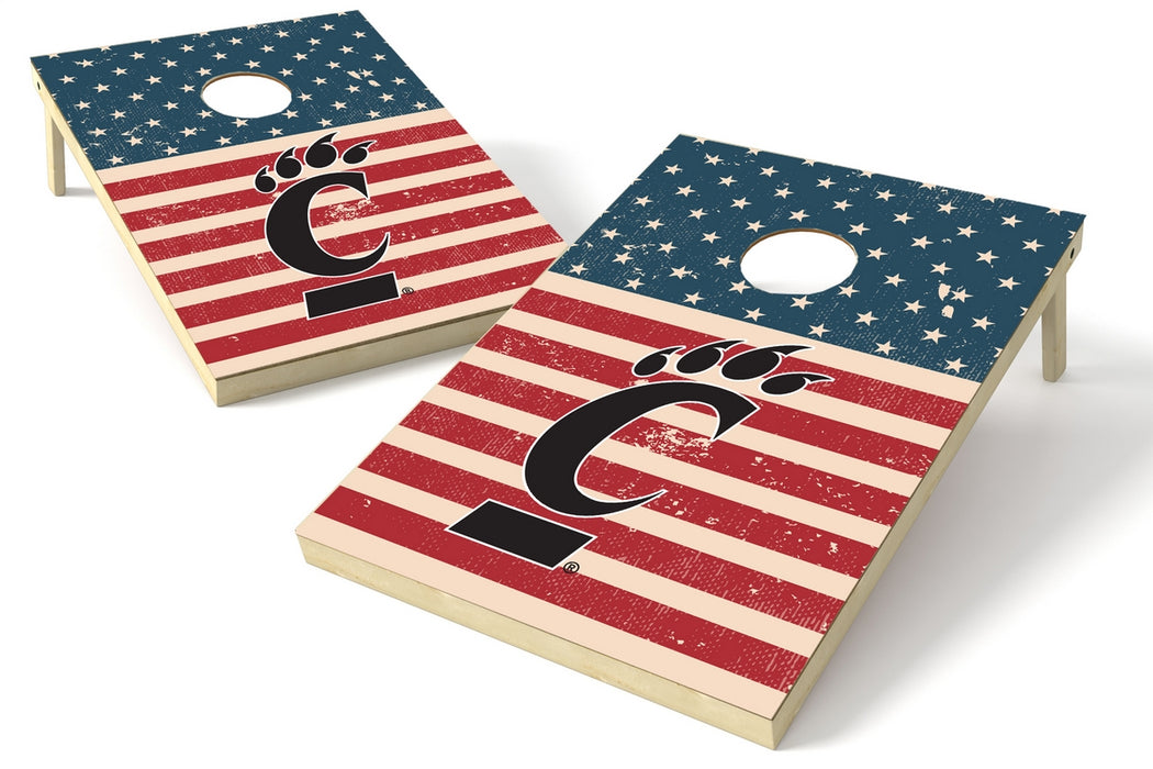 Cincinnati Bearcats 2x3 Cornhole Board Set - American Flag Weathered