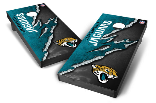Jacksonville Jaguars 2x4 Cornhole Board Set Onyx Stained - Ripped