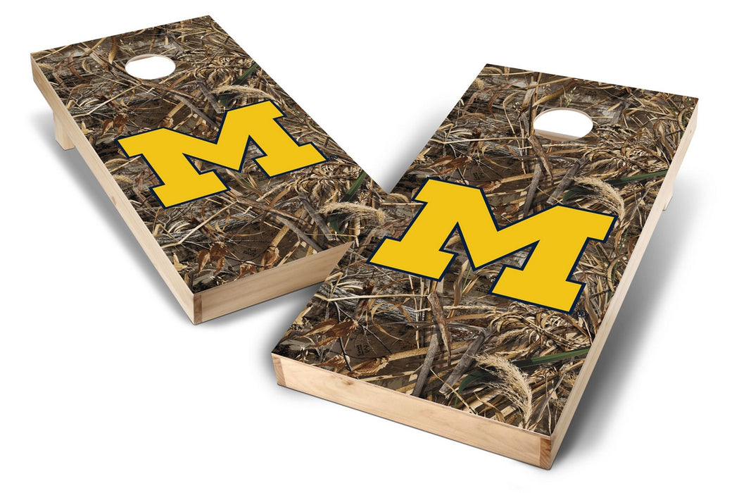 Michigan Wolverines 2x4 Cornhole Board Set - Realtree Max-5 Camo