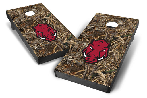 Arkansas Razorbacks 2x4 Cornhole Board Set Onyx Stained - Realtree Max-5 Camo