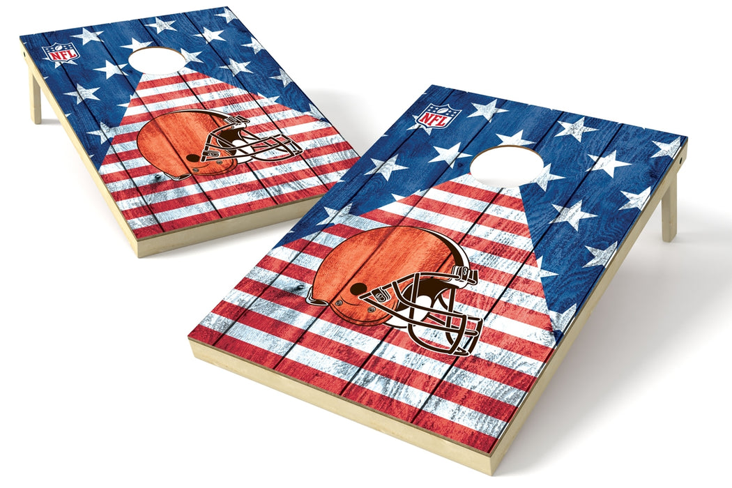 Cleveland Browns 2x3 Cornhole Board Set - American Flag