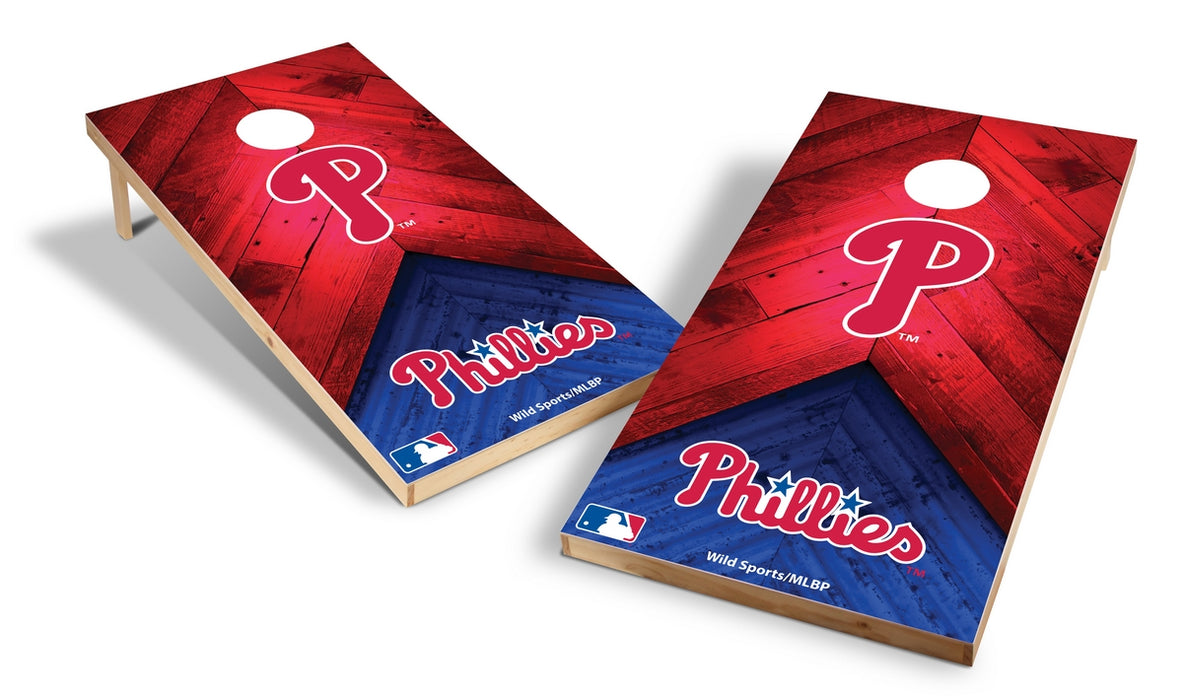 Philadelphia Phillies 2x4 Cornhole Board Set - Weathered