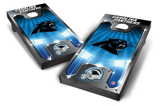 Carolina Panthers 2x4 Cornhole Board Set Onyx Stained - Plate