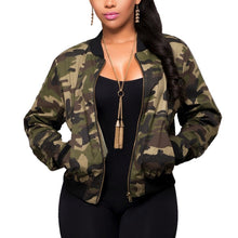 Jacket Women Long Sleeve Camouflage Bomber Autumn Casual Coat Military Zipper Slim Cropped Coat with pockets