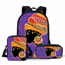 INSTANTARTS Afro Lady Girl School Bag High Quality Africa Beauty Princess 3pcs Sets and Single Backpack