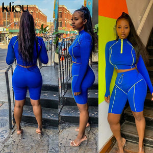 Kliou women fitness two pieces set zipper turtleneck full sleeve with Thumb hole crop top outfit elastic skinny shorts tracksuit