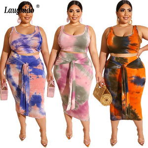 Laughido Plus Size Tie Dyeing Women Set Crop Top And Bodycon Lace Up Skirts 2 Piece Sets Sexy Elegant Suit Beach Boho Outfits