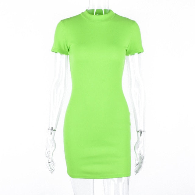 Hugcitar ribbed knit neon green orange short sleeve t shirt bodycon mini dress 2019 summer women streetwear party clothes
