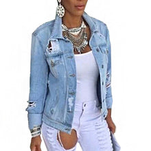 Fashion Denim Jacket Female Coat Autumn Long Sleeves Jeans Jackets Lapel Tops Pocket Single Breasted Casual Outerwear Coat