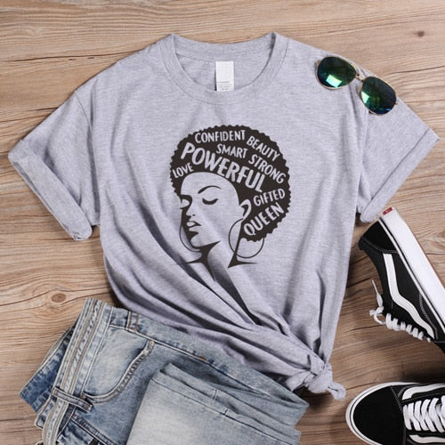 ONSEME Afro Lady Graphic T Shirts Feminist Tees Queen Girl Power Slogan T Shirt Women Christian Tshirt Classic Loose Cotton Tops