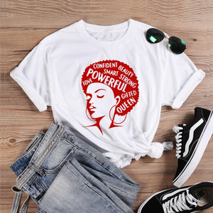 Afro Lady Graphic T Shirts Tees Queen Girl Power Slogan