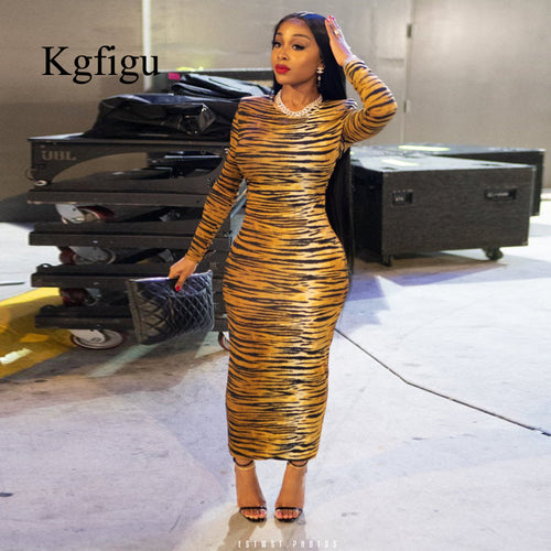 2019 New Arrivals Women Sexy Stripe Long sleeve round neck Bodycon Slim Lady Night Club Party Casual Sheath long Dress