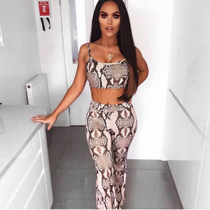 Dulzura snake print sleeveless crop tank top high waist flare pants bell-bottom trousers 2019 sexy women clothes 2 pieces set