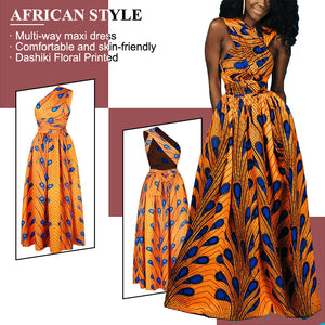 Kureas African Dresses for Women Dashiki Print Sexy Summer Clothes Vintage Sundress Multi-Way Wrap Ruffle Slit Maxi Dress