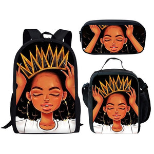 Twoheartsgirl Backpacks Black African American Ladies Bookbags Afro Girl Bagpack Set Studetns 3pcs/set
