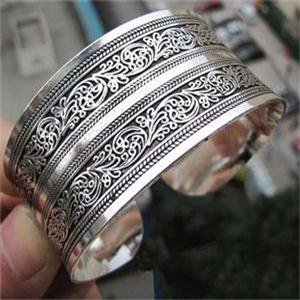 Antique Silver plated carve ,Bohemian Antalya bangle, Boho Coachella Jewelry