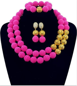 African Beads Rushed Classic Gold-color Women Jewelry Sets New Arrived Nigeria Set Necklace Africa Beads