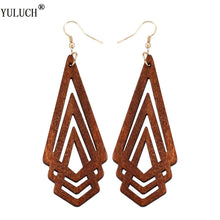 Natural Wooden Earrings Geometrica Hollow Triangle  Fashion Jewelry For Woman