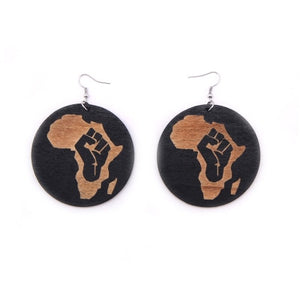 YUKAM Boho Ethnic Round African Map Printing Wooden Earrings Long Handmade Painting Carved Natural Wood Drop Earrings for Women