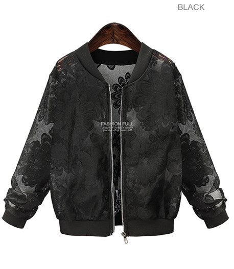 Lace Sleeve Women Long Sleeve Lace Patchwork Transparent Zipper Casual Slim Jacket Coat Bomber Jacket Outwear